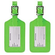 Lewis N. Clark 2-Pack Neon Leather Luggage Tag, Green, One Size