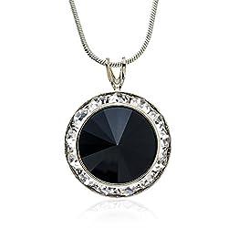 Framed Black Crystal Pendant Necklace Made with Swarovski Elements