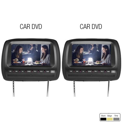 "Ouku Brand New Black Pair 9"" Inch Lcd Dual Headrest Dvd Player Monitors & Game System Package For Car/Truck/Suv -- Pair Of Headrests With Built-In 9"" Dvd Usb Sd Video Monitors, Region Free Dvd Players"