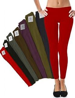 Mato & Hash Women's 90/10 Cotton Spandex Tights Pant Leggings Red 2XL