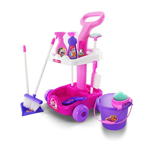 Yoovi-Cleaning-Trolley-Pretend-Play-Toy-Housekeeping-CartSize-29-x-27-x-51-cm
