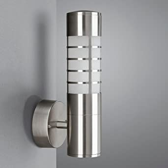 Brushed Chrome Outdoor Wall Lights : Modern Energy Saving Brushed Chrome Outdoor Wall Light - IP44 Rated: Amazon.co.uk: Lighting