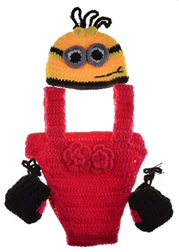 CX-Queen Baby Photography Prop Crochet Knitted Despicable Me Outfit Minion Costume