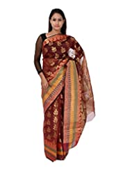 A1 Fashion Women Brasso & Net Red Saree With Blouse Piece