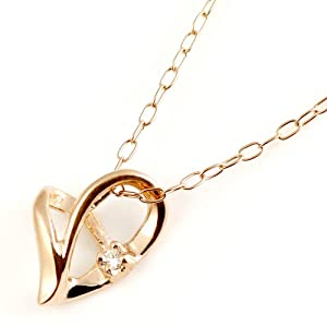 SUEHIRO ダイヤモンドネックレス K10ピンクゴールドハートダイヤモンドペンダント