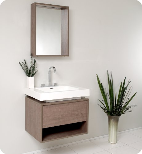 Fresca Modern Bathroom Vanity w/ Mirror FVN8070GO Gray Oak