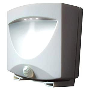 MAXSA Innovations 40341 Battery-Powered Motion-Activated LED Outdoor Night Light, White