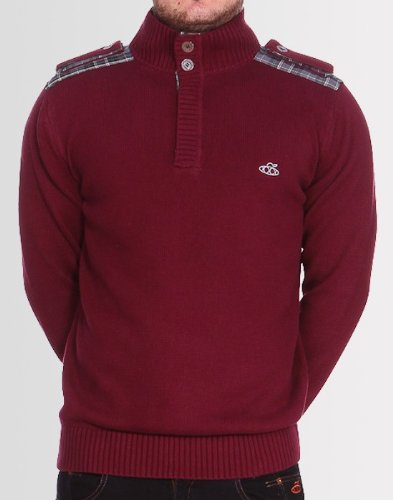 Kear and Ku Mens Knitted Burgundy Jumper : Burgundy - M