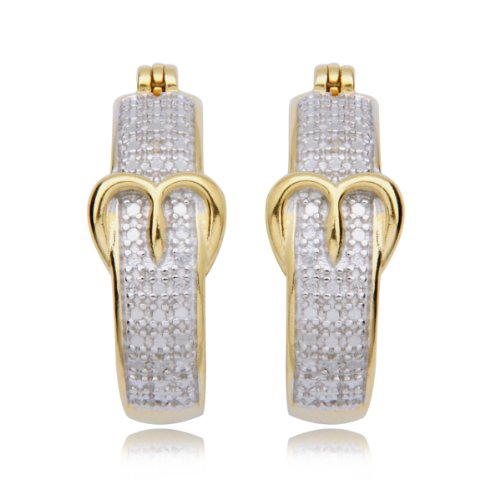 18k Yellow Gold Plated Sterling Silver Diamond-Accent Buckle Hoop Earrings (0.9