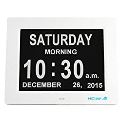 Dementia, Alzheimer's, and Memory Loss Digital Calendar Day Clock for Elderly Seniors with Extra Large Day and Time Period