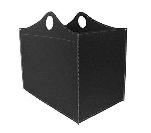 WOODBAG: borsa in cuoio portalegna e/o pellet, in cuoio rigenerato colore Nero, con ruote gommate.