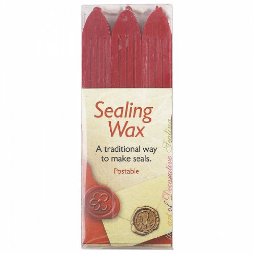 Traditional Seal Wax Sticks W/Wicks 3/Pkg-Red wax seal sealing stamp vintage triple cross arrows picture wedding invitation rosewood handle sticks melting spoon gift box set