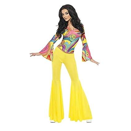 Smiffys Déguisement Femme, Hippie sexy des années 70, avec haut et pantalon pattes d'éléphant, Taille 40-42, 30445