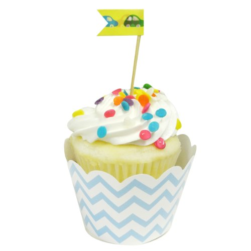 Wrapables Standard Size Chevron Cupcake Wrappers (Set of 20), Blue