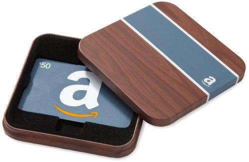 Amazon.com Brown Gift Card Tin – $50, Blue Card image