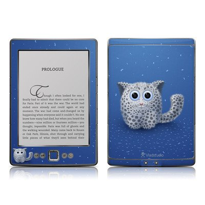 Snow Leopard Design Protective Decal Skin Sticker - Matte Satin Coating For Amazon Kindle 4 (5-Way Controller - 4Th Gen / Release In Oct 2010) front-927040