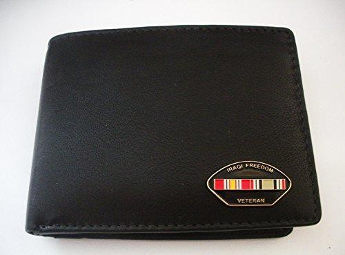 Iraqi War Veteran Men'S Bi-Fold Italian Leather Wallet
