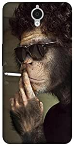 The Racoon Lean Smoking Monkey hard plastic printed back case for Alcatel Onetouch Idol X Plus 6043D