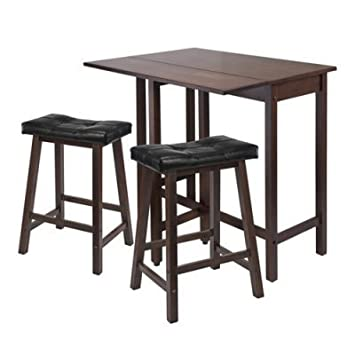 3pc Lynnwood Drop Leaf Kitchen Table with 2 Cushion Saddle Seat Stools