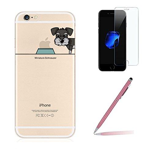 """Custodia iPhone 7 Plus [Pellicola Protettiva in Vetro Temperato], Yoowei® Chiaro Cristallo Trasparente Ultra Sottile Morbido TPU Gel Case Cover per iPhone 7 Plus 5.5"""" (Cane e Animali Domestici)"""