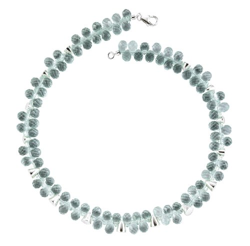 Mbody: Aquamarine Coloured, Briolette Shaped Austrian Crystal and Sterling Silver, Cluster Necklace. Bracelets also Available