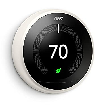 Google Nest T3017US 3rd Generation Learning Thermostat - Works with Alexa - White