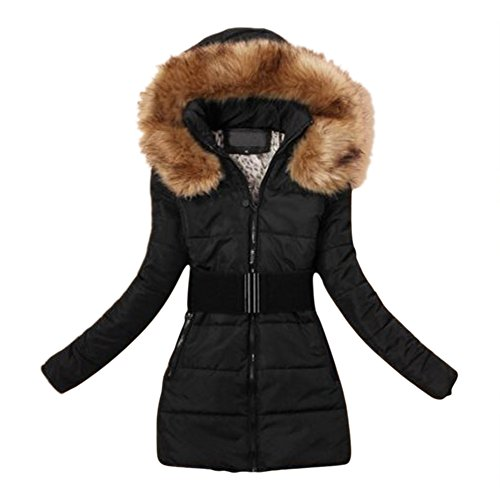 SODIAL (R) 2015 Donna Giubbino Imbottito Invernale Calda Giacca Con Collare In Pelliccia Cappotto Nero XL
