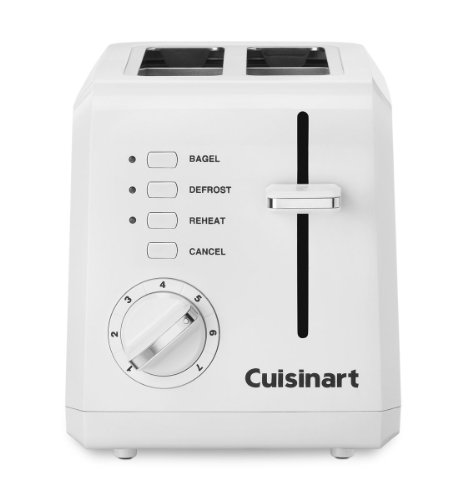 """Cuisinart Compact 2-Slice Toaster With 1½"""" Wide Toasting Slots And Reheat, Defrost And Bagel Controls And 7-Setting Shade Dial"""