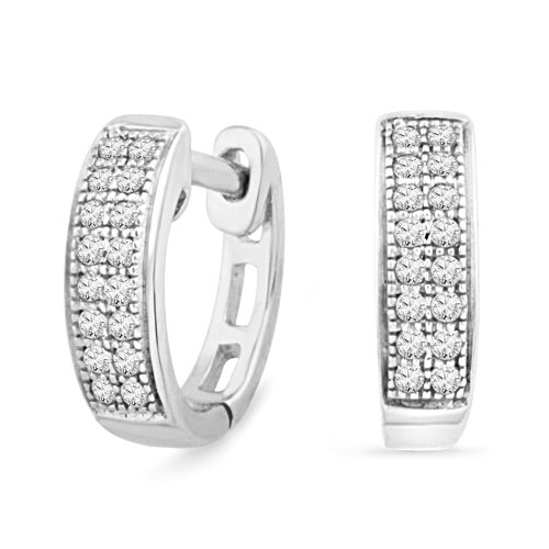 Platinum Plated Sterling Silver Round Diamond Hoop Earring (0.12 cttw)