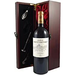 Larrivet Haut Brion Blanc Bordeaux 2006 Vintage Wine presented in a silk lined wooden box with four wine accessories