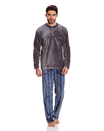 Muslher Pijama Caballero Cuello Pico Rapport Azul Marino