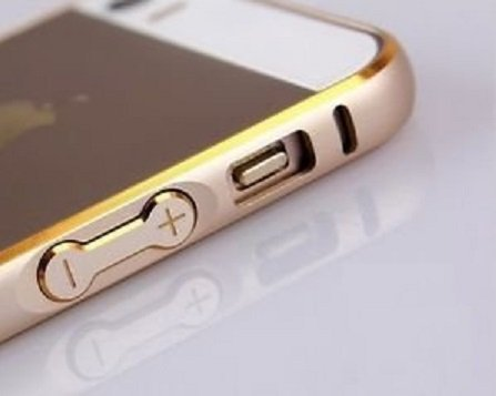 Luxury Arc Edge Dual Gold Lined Metal Bumper Case Cover for iPhone 5s /5-CHAMPAGNE GOLD Color