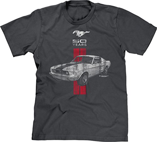 Blittzen Mens T-shirt Mustang 50 Years Red White, Large, Charcoal