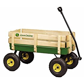 "John Deere - 36"" Steel Wagon With Wooden Stake Sides"