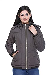 Trufit Full Sleeves Solid Women's Olive Removable Hood Golden Zip Polyester Jacket