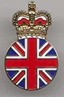 Queen Elizabeth II Union Jack Crown Pin Badge