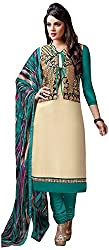 Airboyz Women's Art Silk Unstitched Dress Material (Beige)