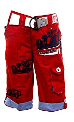 Fingerchips Boys Red Colour Go Carting 3/4th Shorts with matching belt (waist 30 )