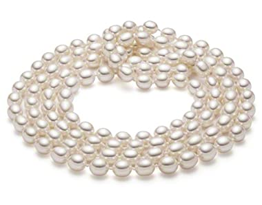 HinsonGayle Glamour Collection Handpicked White 8.0-8.5mm Cultured Pearl Rope Necklace (48 Inches)