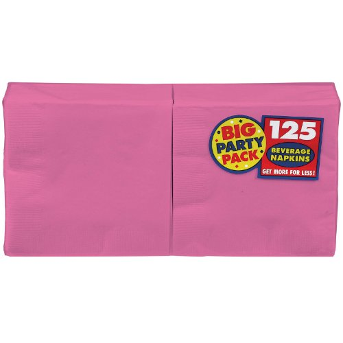 Amscan Big Party Pack 125 Count Beverage Napkins, Pink