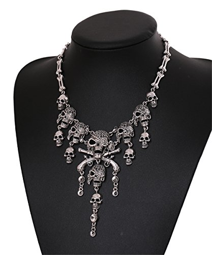 Fashion Multi-level Pirate Skull Tassel Charm Necklace Collar Bib for Women (Full Range Jewelry compare prices)