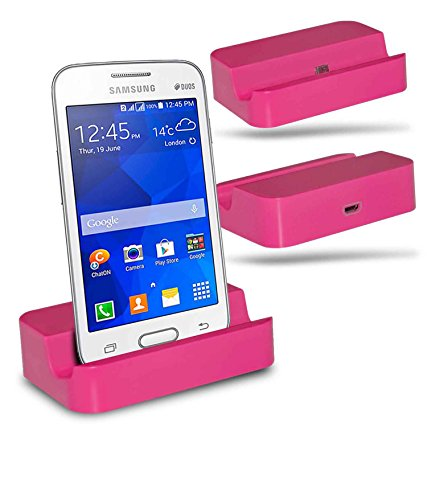 Samsung Galaxy V Plus SM-G318 Station d'accueil de bureau avec chargeur Micro USB support de chargement - Pink - By Gadget Giant®