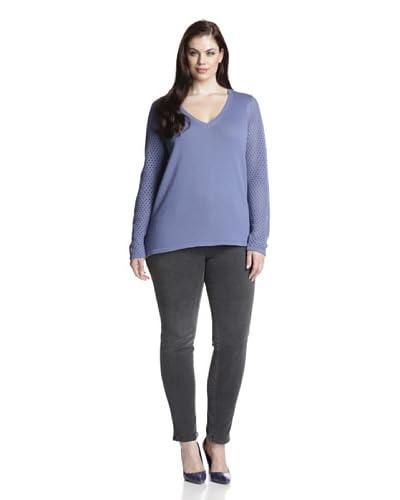 Cotton Addiction Plus Women's Open Stitch V-Neck Sweater