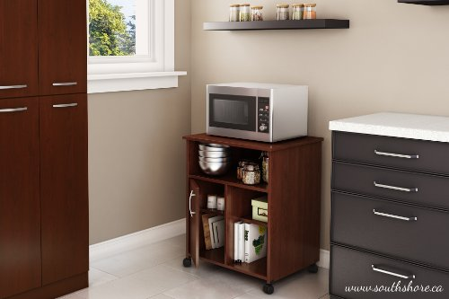 South Shore Fiesta Microwave Cart with Storage on Wheels, Royal Cherry