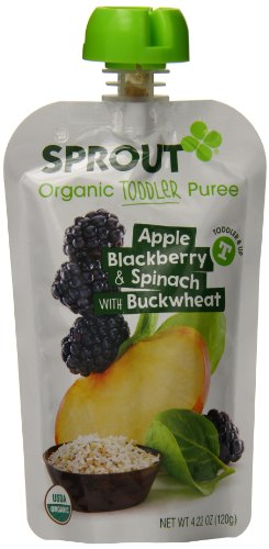 Sprout Organic Foods Toddler Pouches, Apple, Blackberry & Spinach with Buckwheat, 4.22 Ounce (Pack of 5)