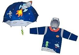 Kidorable Space Hero Rain Coat And Umbrella Set (4t)