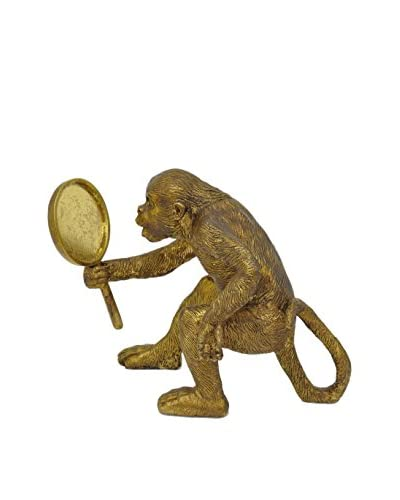Three Hands Resin Monkey, Gold