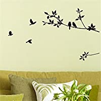 Birds Flying Black Tree Branches Wall…