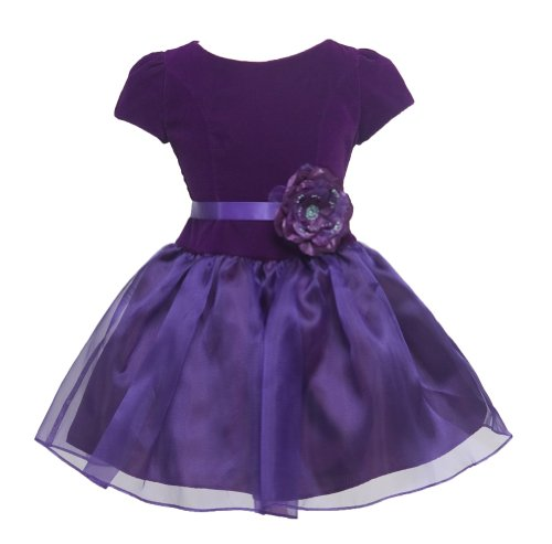 Kid Collection Girls Drop Waist Velvet Dress 4 Purple (Kid 1215) front-104588