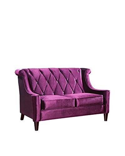 Armen Living Barrister Loveseat with Crystal Buttons, Purple Velvet